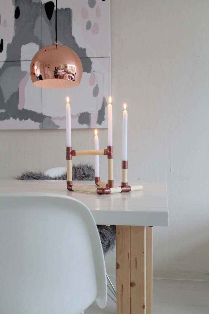Do it yourself: kandelaar van koper en hout